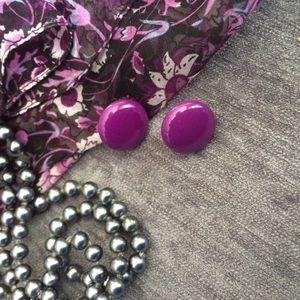 Jewelry - **!VINTAGE!** Purple Button Earrings